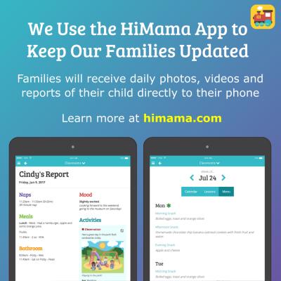 image of HiMama App advertisement for parents of Children's Corner School